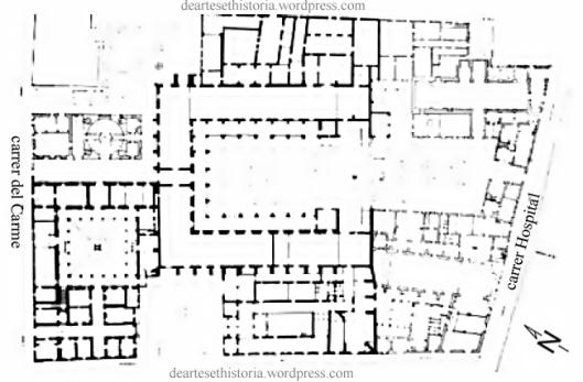 (fig.1) - Vista en planta del nivell inferior de l'Hospital de la Santa Creu]